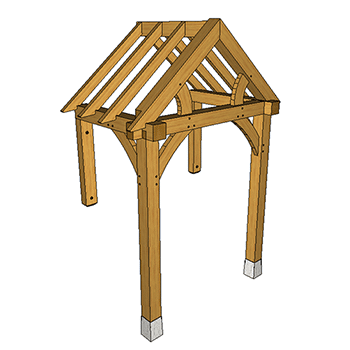 Floor and wall mounted oak framed porch