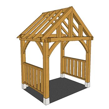 Full height oak framed porch with balustrade