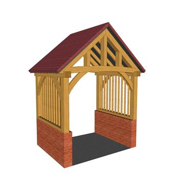 High brick plinth oak framed porch with mullions