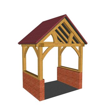 High brick plinth oak framed porch