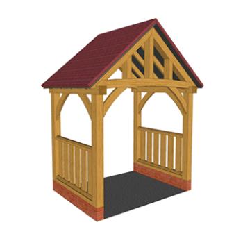 Low brick plinth oak framed porch with balustrades