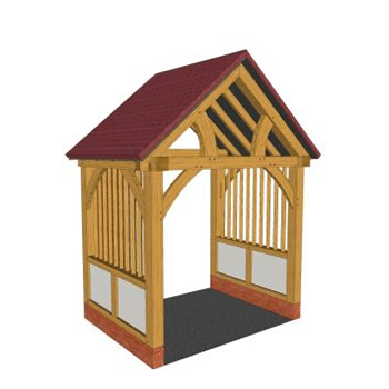 Low brick plinth oak framed porch with render and mullions