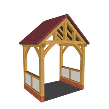 Low brick plinth oak framed porch with render