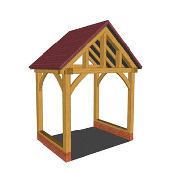 Low brick plinth oak framed porch