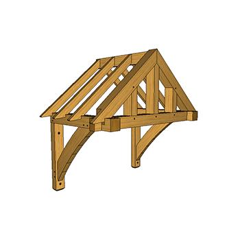 Wall mounted oak framed porch